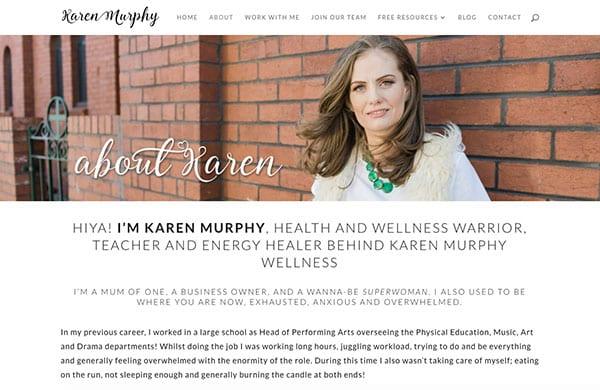 Screen shot of a website Karen Murphy Wellness